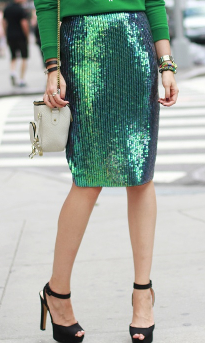 green on green sequins