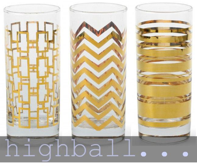 gold highball glasses